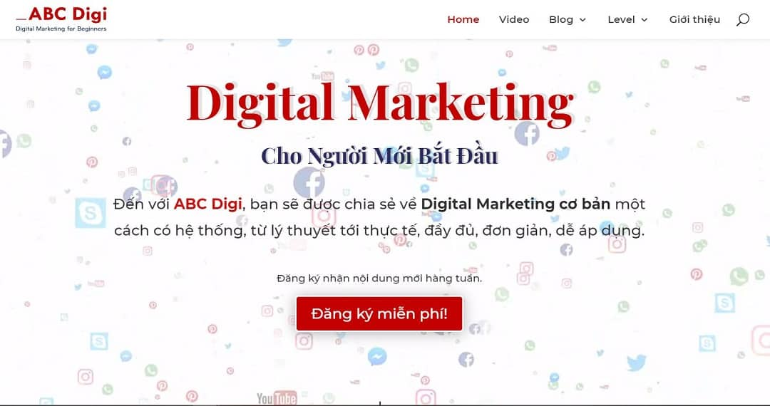 ABC Digi website - Digital marketing for beginner