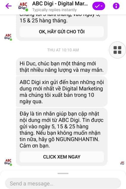 Chatbot báo tin tức 3 lần/tháng của abcdigi