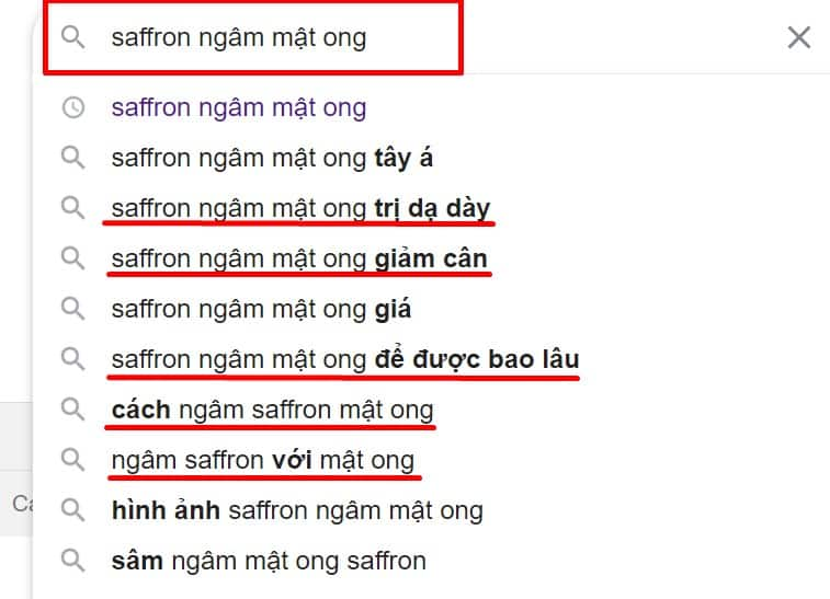 Tìm từ khóa LSI trên Google Suggest theo từ khóa phụ