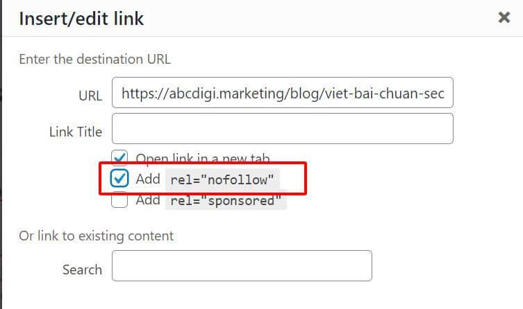 chọn nofollow cho external link