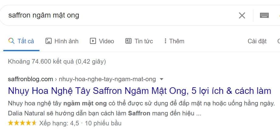 Mẫu nội dung hiển thị trên Google