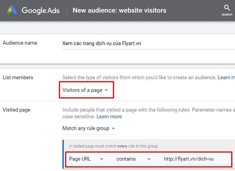 tạo tệp khách hàng trong thư viện remarketing của google